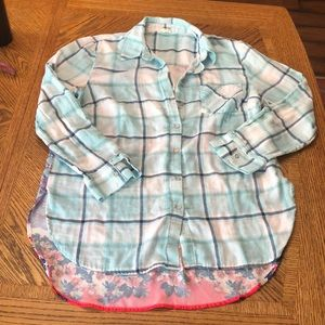 Plaid shirt with silky back